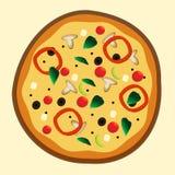 Pizza vegetariana recientemente cocida para el menú de la pizzería Imagenes de archivo