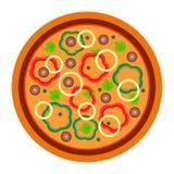 Pizza vegetariana rotonda con verde e peperone nello stile piano illustrazione di vettore di pizza isolata su bianco royalty illustrazione gratis