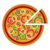 Pizza vegetariana rotonda con verde e peperone nello stile piano vector l'illustrazione di pizza affettata isolata su bianco illustrazione vettoriale