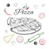 Pizza Vektorhand gezeichnete Abbildung Italienische Küche Laptop- und Blinkenleuchte lizenzfreie abbildung