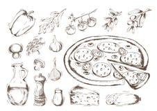 Pizza, Vektorillustration Stockfotografie