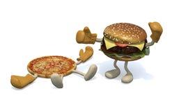 Pizza versus hamburger: de winnaar is hamburge royalty-vrije illustratie