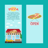 Pizza vertical flyers with shop building Stock Photos