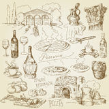 Pizza, vinho, elementos do alimento Foto de Stock Royalty Free
