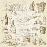 Pizza, vino, elementos del alimento Foto de archivo libre de regalías