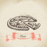 Pizza. Vintage hand drawn illustration Royalty Free Stock Image