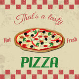 Pizza vintage poster Stock Photo