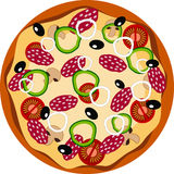 Pizza vlak pictogram stock illustratie