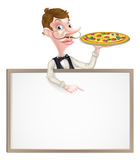 Pizza Waiter Sign Royalty Free Stock Images