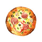 Pizza. Watercolor hand-drawn illustration Royalty Free Stock Photo