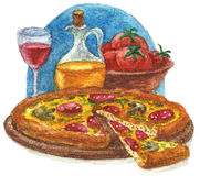 Pizza watercolor Royalty Free Stock Photography