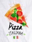 Pizza watercolor pizza italiana. Pizza watercolor poster hand drawn with stains and smudges pizza italiana Stock Photography