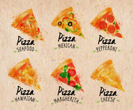 Pizza watercolor set kraft. Pizza watercolor set hand drawn with stains and smudges kraft paper Stock Photography
