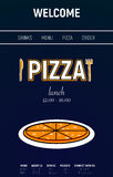 Pizza web site with menu line, fork and knife minimal sport style on blue background stock photography