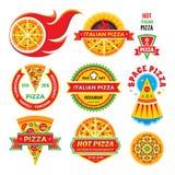 Pizza - wektorowe odznaki ustawiać Pizza - wektor przylepia etykietkę kolekcję Zdjęcia Royalty Free