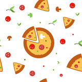 Pizza wektoru bezszwowy wzór Obrazy Stock