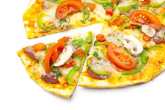 Pizza on white background Royalty Free Stock Images