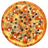 Pizza. On the white background Stock Photos