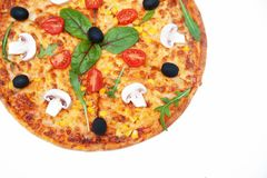 Pizza on white background Royalty Free Stock Photos