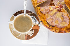 Pizza on a white background. Pizza with salami and coffee for breakfast Stock Photo