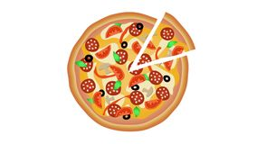 Pizza on white background 3 shoots. Animation 4K stock video footage