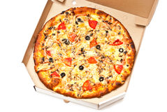 Pizza in white box Royalty Free Stock Photography