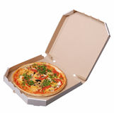 Pizza in white box Stock Photos