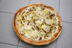 Pizza from wholemeal with vegetables. A round pizza of wholemeal flour with tzatziki, to mushrooms, cabbage, onions, Parmesan baked Royalty Free Stock Photos
