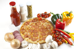 Free Pizza With Salami Royalty Free Stock Images - 9822259