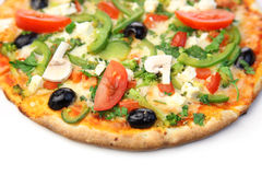 Pizza/witte achtergrond stock afbeelding
