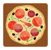 Pizza. On wood plate, color illustration Stock Photo