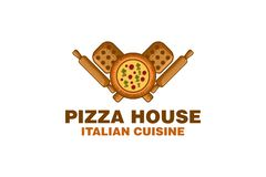 Pizza Wood plate, Rolling Pin Logo Designs Inspiration, Vector Illustration. royalty free illustration
