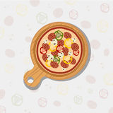 Pizza on wooden board. Tasty and fresh Italian fast food. Flat illustration stock illustration