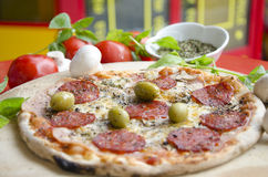 Pizza from wooden oven Royalty Free Stock Image