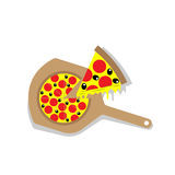 Pizza with Wooden Paddle Royalty Free Stock Photo