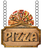Pizza - Wooden Sign with Metal Chain Stock Photography