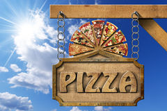 Pizza - Wooden Sign with Metal Chain Royalty Free Stock Photo