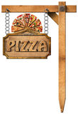 Pizza - Wooden Sign with Metal Chain Stock Images