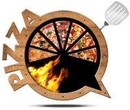 Pizza - Wooden Speech Bubble Stock Photo