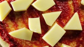 Pizza is on a wooden table stock footage