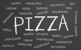 Pizza word cloud Royalty Free Stock Image