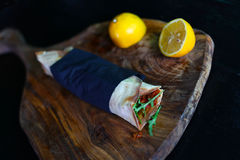 Pizza wrap, turkish lahmacun with minced meat and arugula Stock Images