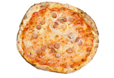 Pizza with wurst and onion Royalty Free Stock Images