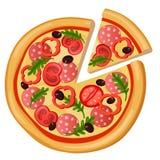 Pizza wyszczególniająca mieszkanie stylu sieci ikona Karmowa kolekcja ilustracji
