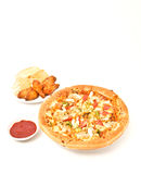 Pizza y ala de pollo Fotografía de archivo