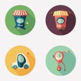 Pizza y cafeterías con los iconos redondos planos del transporte retro Imagen de archivo