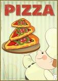 Pizza y cocinero Fotos de archivo