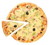 Pizza y pedazo Imágenes de archivo libres de regalías