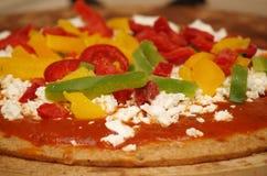 Pizza y pimientas Imagen de archivo