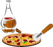 Pizza y vino Foto de archivo libre de regalías